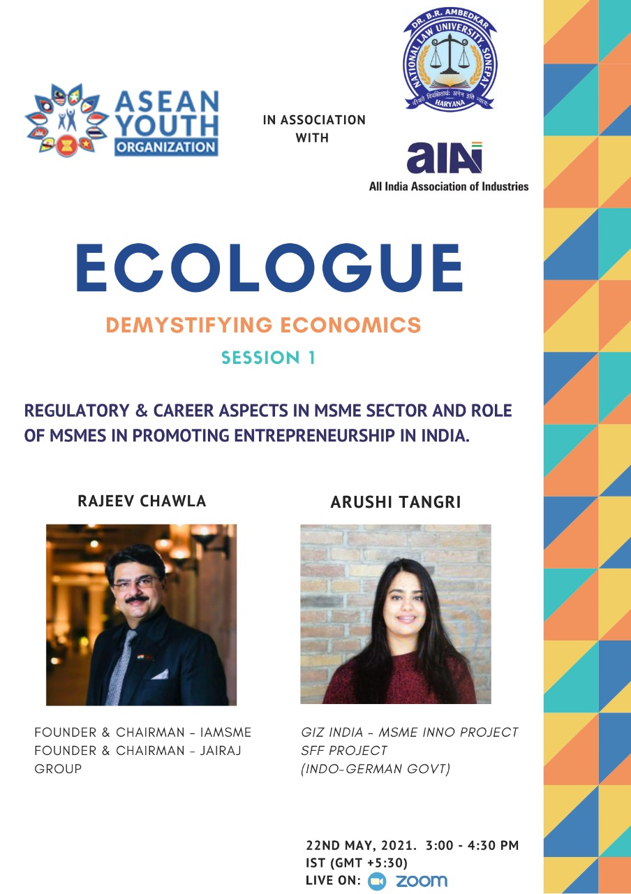 ECOLOGUE- Regulatory & Career Aspects in MSME sector and Role of MSMEs in promoting Entrepreneurship in India